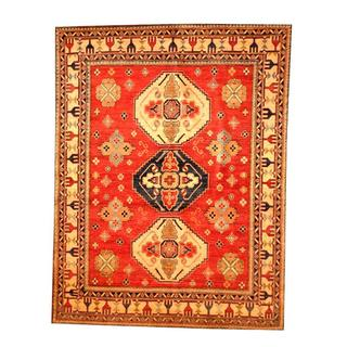 Handmade One-of-a-Kind Kazak Wool Rug (Afghanistan) - 6'7 x 8'7
