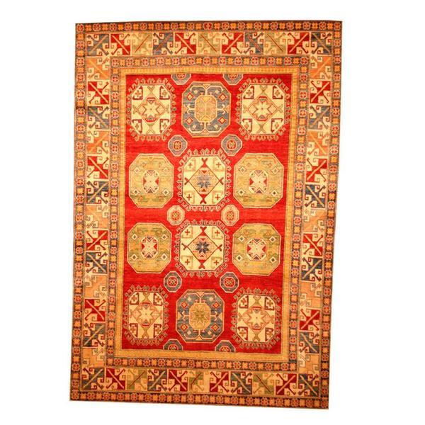 Handmade Herat Oriental Afghan Tribal Kazak Red/ Beige Wool Rug (Afghanistan) - 7'1 x 10'5