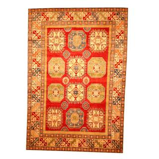 Herat Oriental Afghan Hand-knotted Tribal Kazak Red/ Beige Wool Rug (7'1 x 10'5)