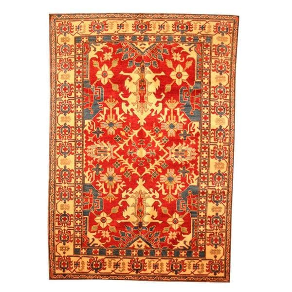 Herat Oriental Afghan Hand-knotted Tribal Kazak Red/ Tan Wool Rug (6'2 x 8'11) - 6'2 x 8'11