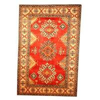 Herat Oriental Afghan Hand-knotted Tribal Kazak Red/ Tan Wool Rug (6'9 x 10'1) - 6'9 x 10'1