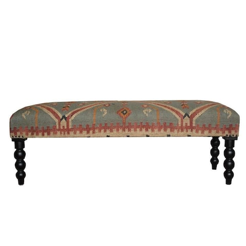 "Herat Oriental Handmade Indo Kilim Upholstered Bench (India) - 48"" L x 17"" W x 16"" H"