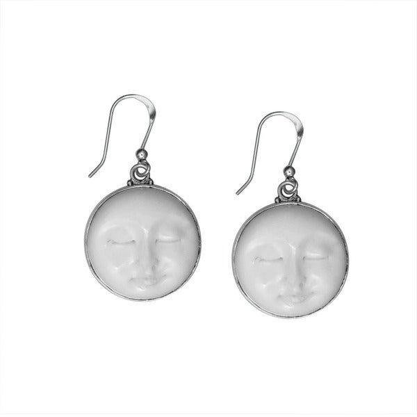 9885e471f Shop Handmade Sterling Silver Bali Hand-carved Cow Bone Serenity Moon Face  Dangle Earrings (Indonesia) - Free Shipping Today - Overstock - 9418612