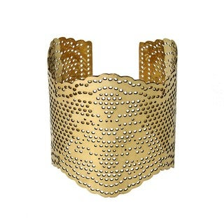 Handmade Lacey Goldtone Brass Cut-out Cuff Bracelet (India)