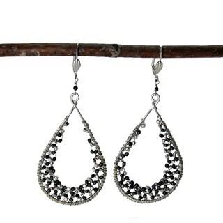 Silver Cubist Droplet Loop Earrings (India)