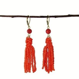 Handmade Tangerine Tassel Drop Earrings (India)