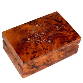Hand-crafted Mother of Pearl Inlaid Moroccan Thuya Wood Box (Morocco)