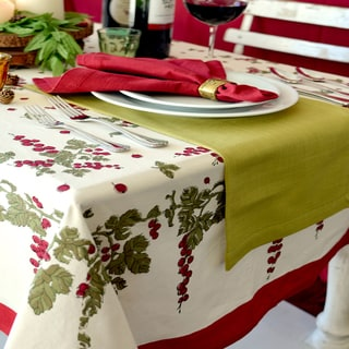 Link to Gooseberry Square Red/ Green Cotton Tablecloth Similar Items in Table Linens & Decor