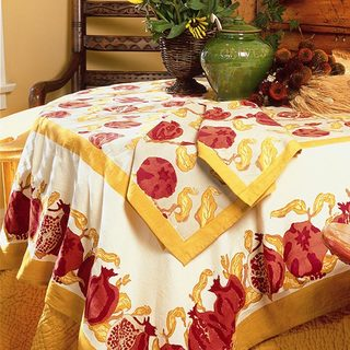 Pomegranate/ Yellow Rectangular Cotton Tablecloth