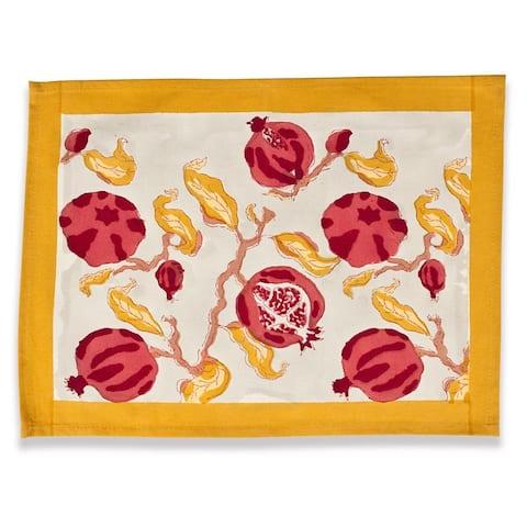 Pomegranate/ Yellow 15x18-inch Cotton Mats (Set of 6)