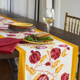 Pomegranate/ Yellow Cotton Table Runner