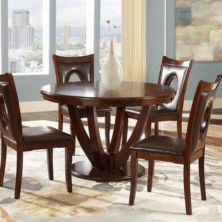 TRIBECCA HOME Miraval Cherry Brown Round Dining Table