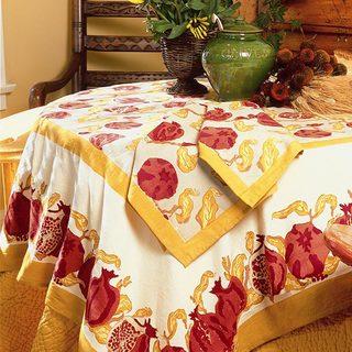 Pomegranate/ Yellow Round Cotton Tablecloth