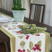 Cherry Red/ Green Cotton Table Runner