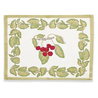 Cherry Red/ Green 15x18-inch Cotton Mats (Set of 6)