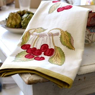 Cherry Red/ Green 20x30-inch Cotton Tea Towels (Set of 3)