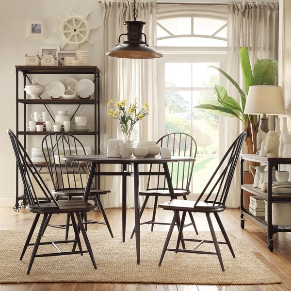 Belita 5 piece Mid century Two tone Modern Wood Dining Set iNSPIRE