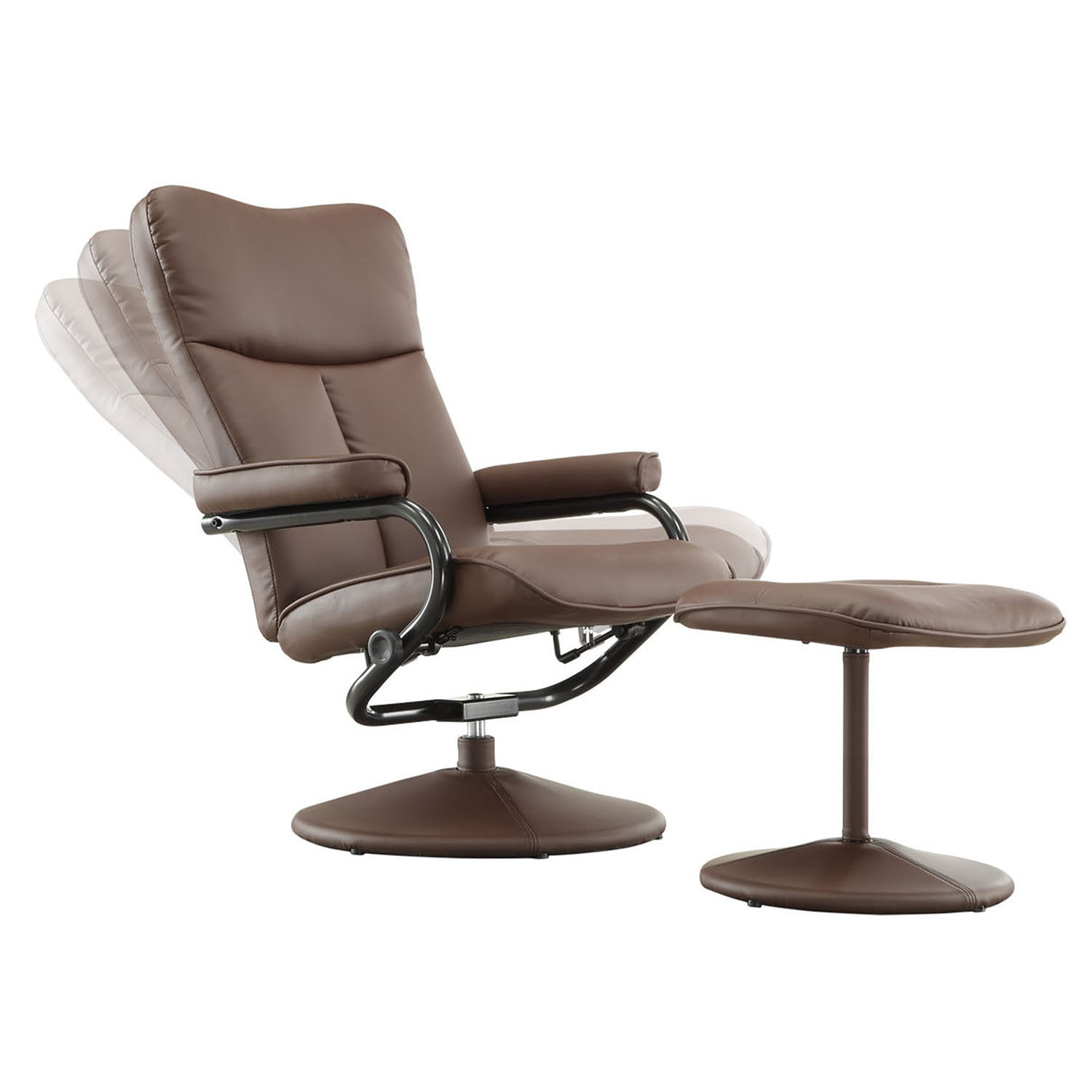 Olivia Bonded Leather Swivel Recliner Chair with Ottoman ...