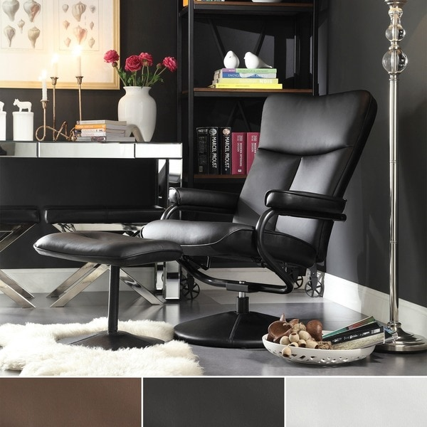 Olivia Bonded Leather Swivel Recliner Chair with Ottoman iNSPIRE Q Modern - Free Shipping Today - Overstock.com - 16605804 & Olivia Bonded Leather Swivel Recliner Chair with Ottoman iNSPIRE Q ... islam-shia.org