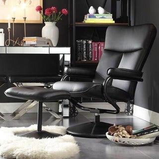 Olivia Bonded Leather Swivel Recliner Chair with Ottoman by MID-CENTURY LIVING