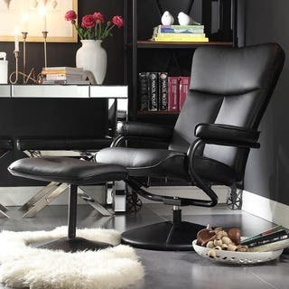 swivel living room chairs modern. Olivia Bonded Leather Swivel Recliner Chair with Ottoman iNSPIRE Q Modern Living Room Chairs For Less  Overstock com