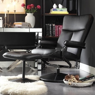 olivia bonded leather swivel recliner chair with ottoman inspire q modern