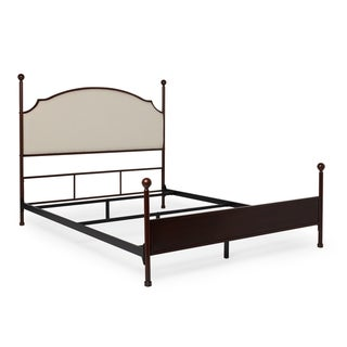 Andover Cream Curved Top Cherry Brown Metal Poster Bed by iNSPIRE Q Classic