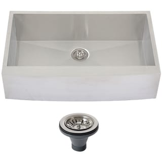 Ticor 4412BG-DEL 36-inch Curved Front Single Bowl Stainless Steel Kitchen Sink