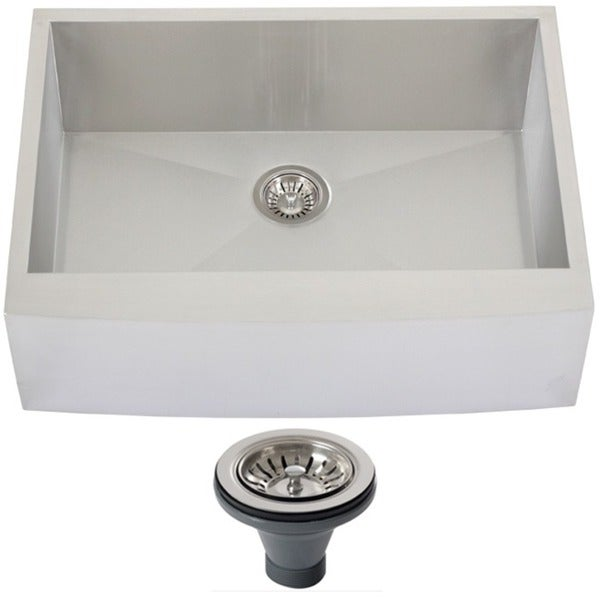 30 Inch Farmhouse Sink Stainless Steel : 4410BG-DEL 30-inch 16-gauge Stainless Steel Curved Front Farmhouse ...