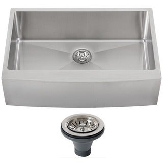 Ticor 4413BG-DEL 33-inch 16-gauge Stainless Steel Curved Front Single Bowl Farmhouse Apron Kitchen Sink