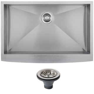 Ticor 4402BG-DEL 33-inch 16-gauge Stainless Steel Curved Front Undermount Apron Kitchen Sink
