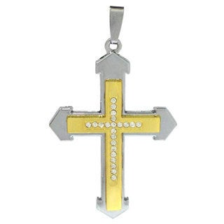 Bleek2Sheek Unisex 'Excalibur' Two-toned Stainless Steel Rhinestone Cross Pendant