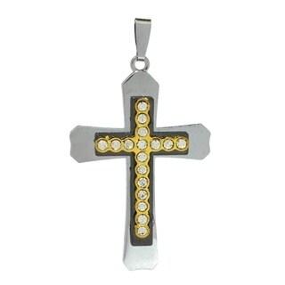 Bleek2Sheek Unisex 'Sparkling Elegance' Two-tone Stainless Steel Rhinestone Cross Pendant