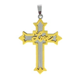 Bleek2Sheek Unisex 'Love' Two-toned Stainless Steel Cross Pendant