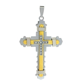 Bleek2Sheek Unisex 'Bonded' Stainless Steel Rhinestone Cross Pendant