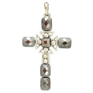 Bleek2Sheek Emerald-cut Faceted Hematite Crystal and Rhinestone Cross Necklace Pendant