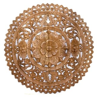 Handmade Round Brown Stain Lotus Panel Inlay Wall Decor (Thailand)