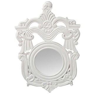 Handmade Hand-chiseled White Decorative Wall Mirror (India)