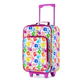 Olympia Kids' 19-inch Handprint Rolling Upright Suitcase