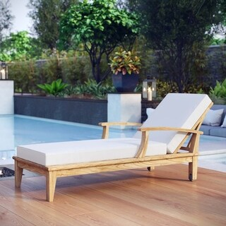 Pier Outdoor Patio Teak Wood Single Chaise