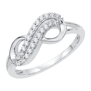 10k White Gold 1/5ct TDW Infinity Diamond Ring (J-K, I1-I2)
