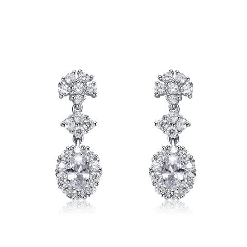 Collette Z Sterling Silver with Rhodium Plated Clear Oval with Round Cubic Zirconia Oval Drop Earrings