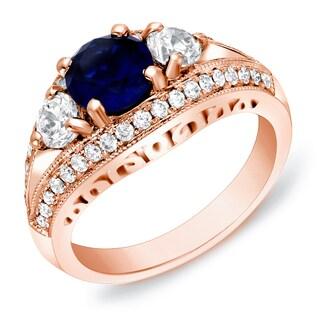 Auriya 14k Rose Gold 1ct Sapphire and 1/2ct TDW 3-Stone Diamond Engagement Ring