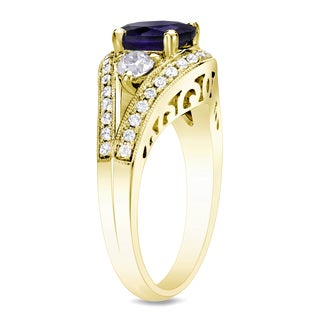 Auriya 14k Gold 3/4ct TDW Sapphire and Diamond Engagement Ring (H-I, SI1-SI2)