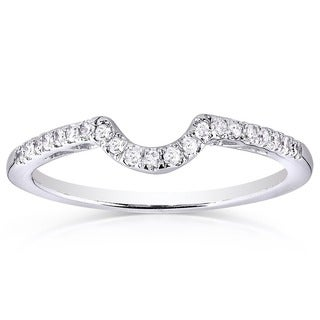 Annello by Kobelli 10k White Gold 1/6ct TDW Curved Diamond Wedding Band