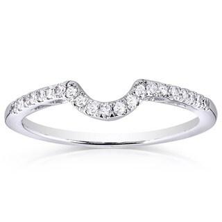 Annello by Kobelli 10k White Gold 1/6ct TDW Curved Diamond Wedding Band
