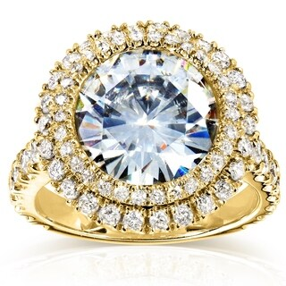 Annello by Kobelli 14k Yellow Gold 5 7/8ct TGW Large Moissanite and Diamond Round Double Halo Statement Ring (HI/VS, GH/I)