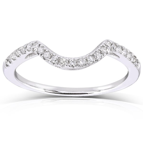 Curved Wedding Bands: Shop Annello By Kobelli 10k White Gold 1/8ct TDW Curved