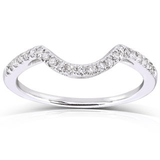 Annello 10k White Gold 1/8ct TDW Curved Diamond Wedding Band (H-I, I1-I2)