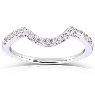 Annello by Kobelli 10k White Gold 1/8ct TDW Curved Diamond Wedding Band (H-I, I1-I2)